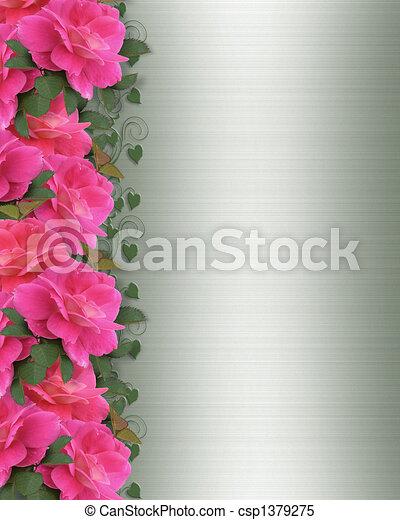 Pink Roses Border on green satin - csp1379275