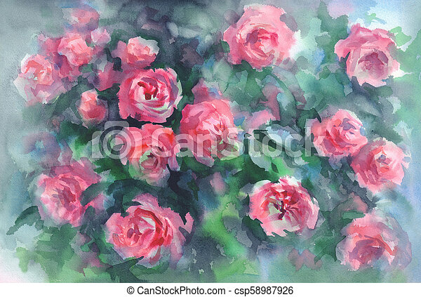 pink roses in green background watercolor - csp58987926