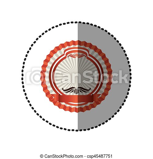 pink round emblem with ribbon icon - csp45487751