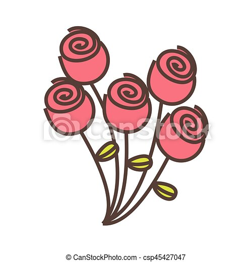 pink round roses icon - csp45427047