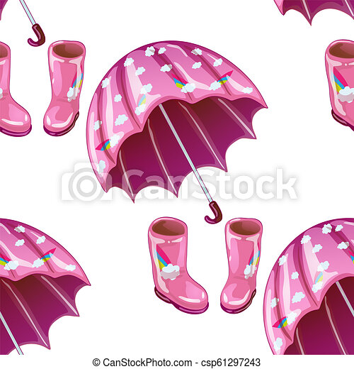 graphic regarding Umbrella Pattern Printable Free named Red rubber boots and umbrella inside a vector design and style isolated.