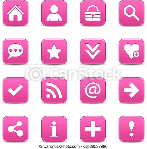 Pink satin icon web button with white basic sign - csp39537996
