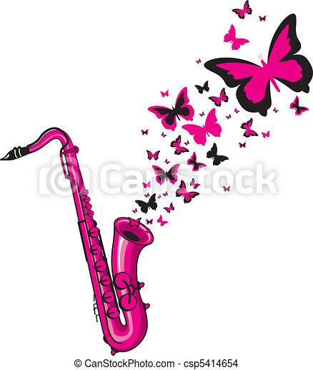 Pink saxophone eps vector search clip art illustration - Dessin saxophone ...