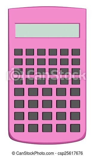 Pink scientific calculator isolated. Pink scientific ...