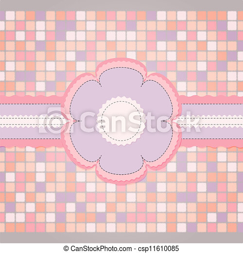 Pink sewing template for greeting card - csp11610085