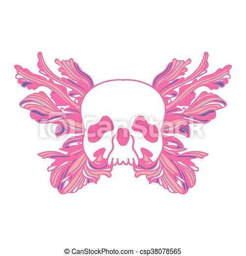 Pink Skull and butterfly - csp38078565