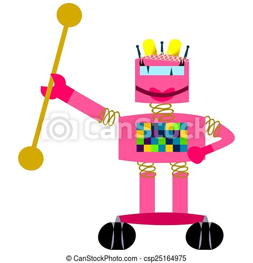 Pink smiling robot - girl majorette - csp25164975
