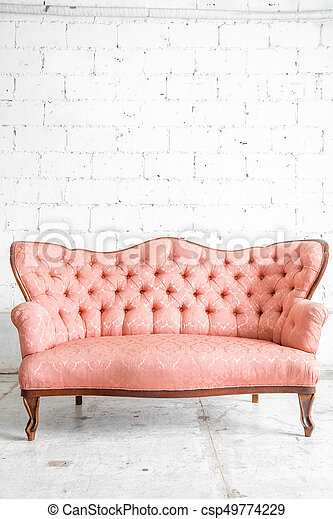 Pink sofa. Pink classical style sofa couch in vintage room stock ...
