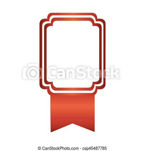 pink square emblem with ribbon icon - csp45487785