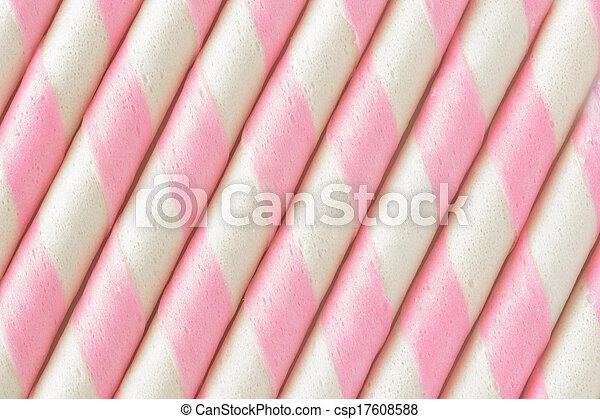 pink stripe wafer roll Background. - csp17608588