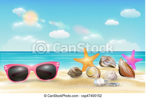 Pink sunglasses sea shell and starfish on a sea sand beach.