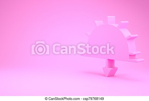 pink sunset icon isolated on pink background minimalism concept 3d illustration 3d render can stock photo