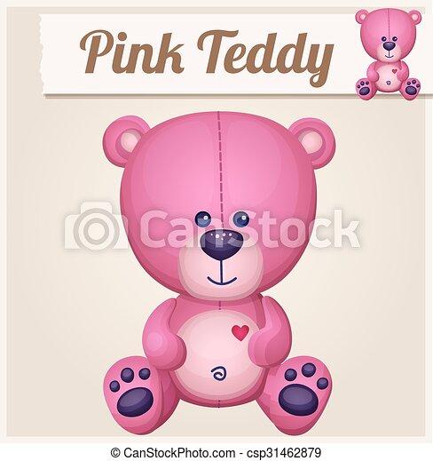 Pink teddy bear. Cartoon vector illustration - csp31462879