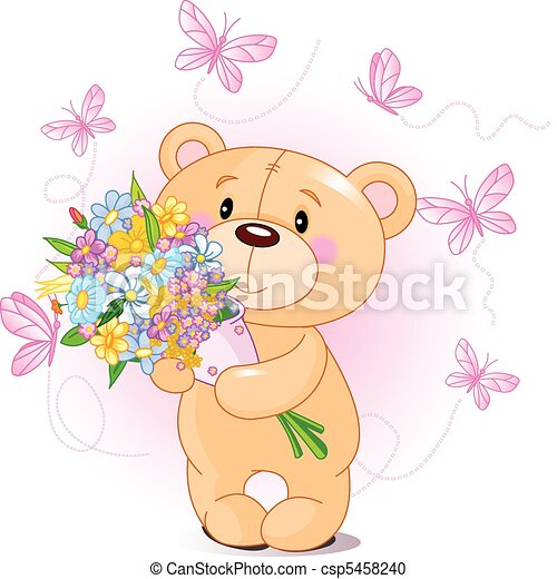 Pink Teddy Bear with flowers - csp5458240