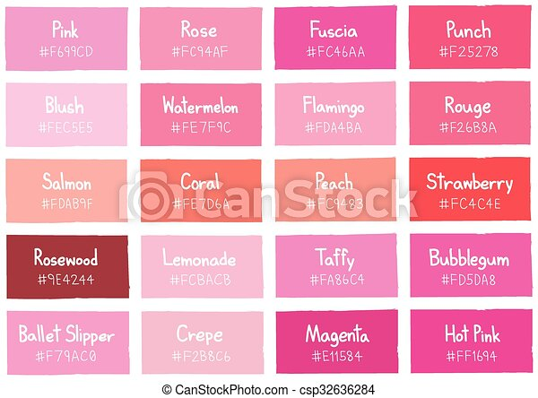Pink Tone Color Shade Background With Code And Name