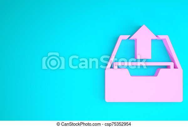 Pink Upload inbox icon isolated on blue background. Extract files from archive. Minimalism concept. 3d illustration 3D render - csp75352954