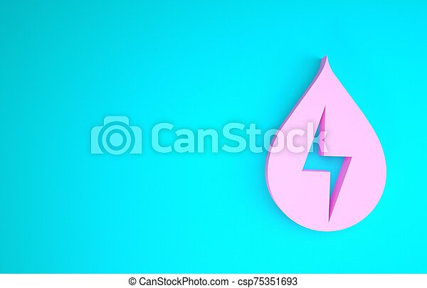 Pink Water energy icon isolated on blue background. Ecology concept with water droplet. Alternative energy concept. Minimalism concept. 3d illustration 3D render - csp75351693