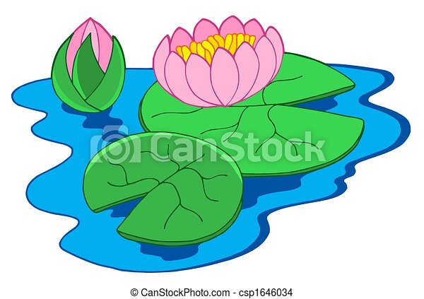 pink water lilies isolated illustration rh canstockphoto com water lily clip art free water lily leaf clipart