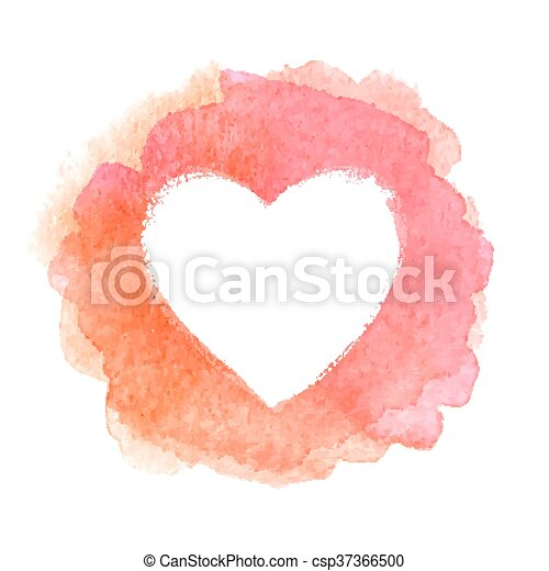 Pink watercolor painted heart shape frame - csp37366500