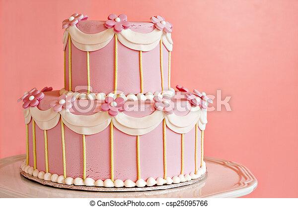 Pink wedding cake - csp25095766