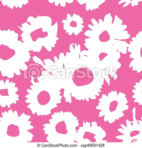 Pink-white pattern with daisies. Millefleurs liberty style. Ditsy floral pattern for printing on fabric,  women's clothes - csp49591428