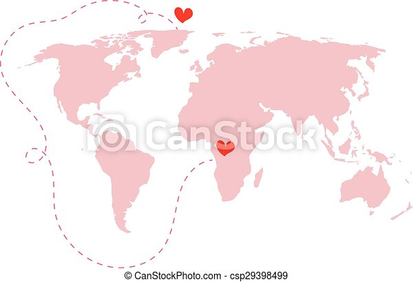Pink World Map Atlas With Love Around The World Red Heart Isolated