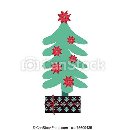 pino, árbol de navidad, regalo, alegre - csp75609435