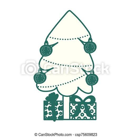 pino, árbol de navidad, regalos, alegre - csp75609823