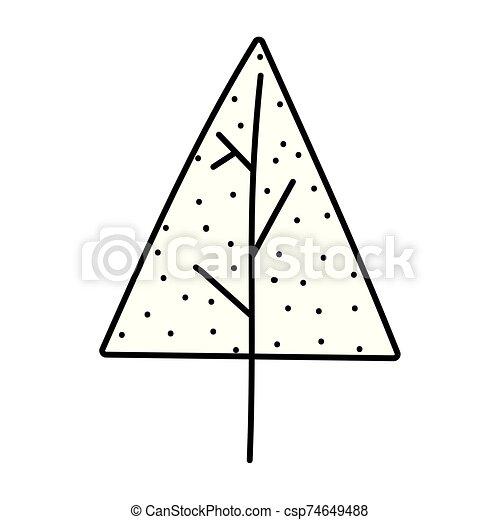 pino, decoración, icono, árbol, grueso, feliz navidad, nieve, línea - csp74649488