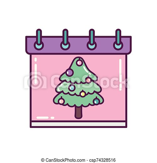pino, feliz navidad, árbol, icono, decoración, calendario - csp74328516