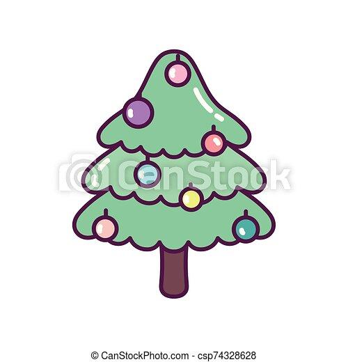 pino, feliz navidad, árbol, pelotas, decoración, icono - csp74328628