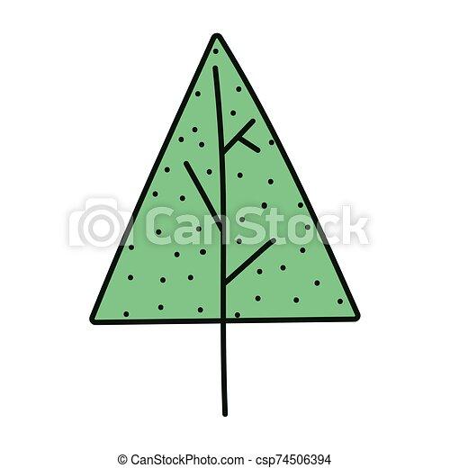 pino, nieve, árbol, alegre, decoración, navidad, icono - csp74506394