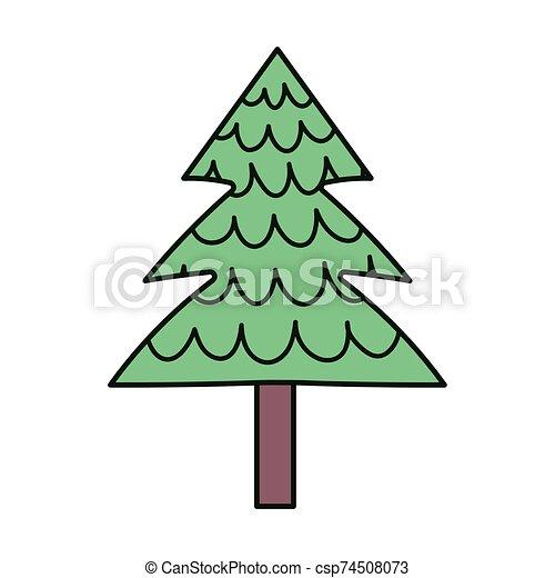pino, nieve, árbol, alegre, decoración, navidad, icono - csp74508073