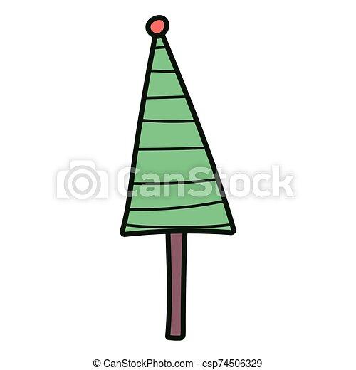 pino, pelota, árbol, alegre, decoración, navidad, icono - csp74506329