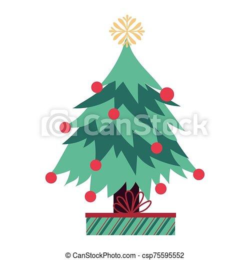 pino, regalo, árbol, navidad, alegre - csp75595552