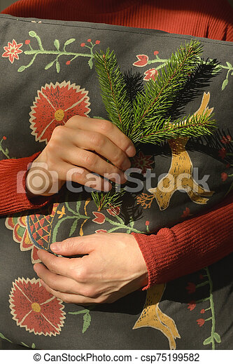 pino, valor en cartera de mujer, rama, almohada - csp75199582