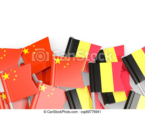 Pins with flags of China and belgium isolated on white. - csp69776941