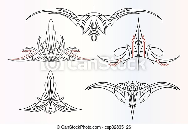 pinstriping ornaments set a set of 5 different pinstripe graphic rh canstockphoto com pinstripe clipart free Pinstriping Designs