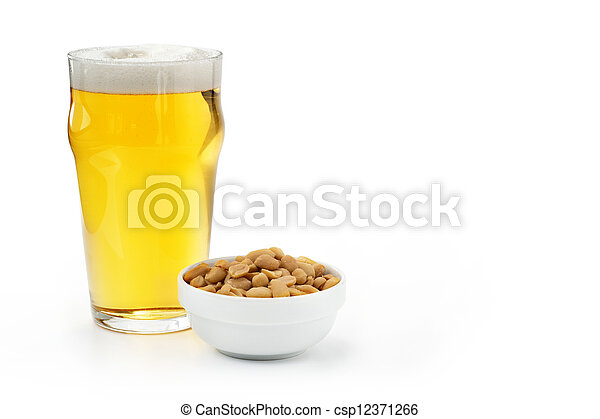 pint of lager and peanuts on white background - csp12371266
