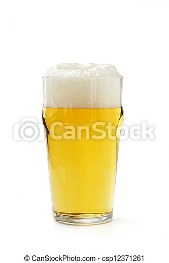pint of lager beer isolated on white background - csp12371261