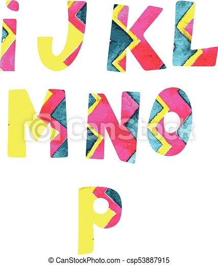 Letras brillantes. El alfabeto inglés pintado en el vector. - csp53887915