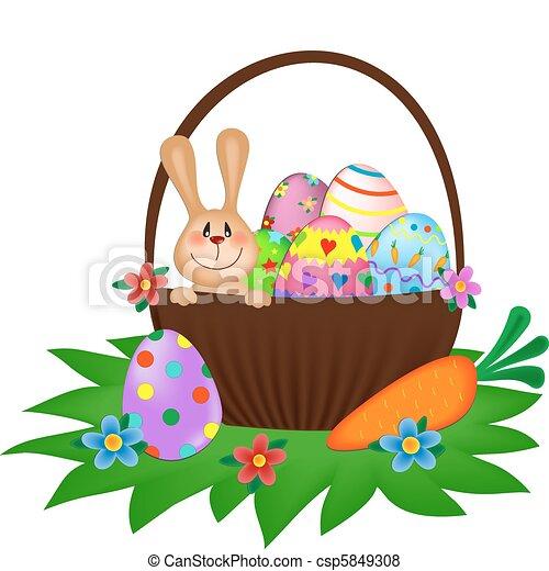 pintado, cesta, ovos, bunny easter - csp5849308