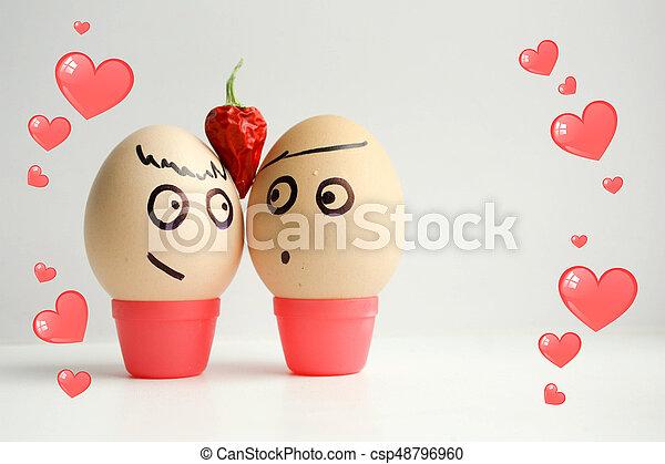 pintado, huevos, concepto, amor, face. - csp48796960