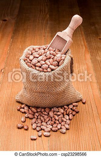 Pinto beans in burlap bag - csp23298566