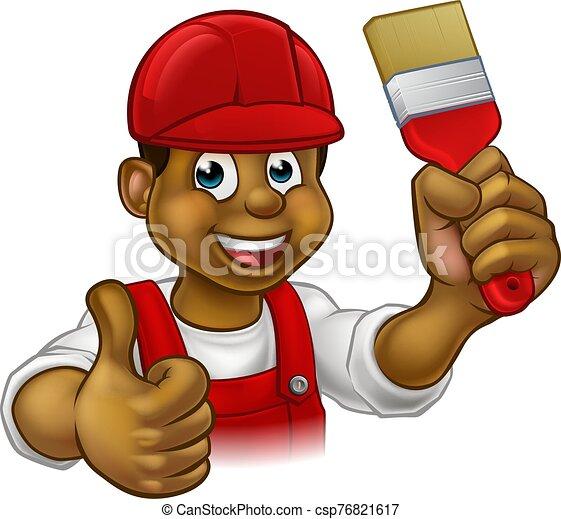 pintor, hombre, caricatura, factótum, decorador - csp76821617