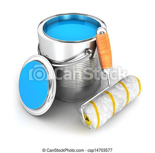 pintura, 3d, escova, rolo, lata - csp14703577
