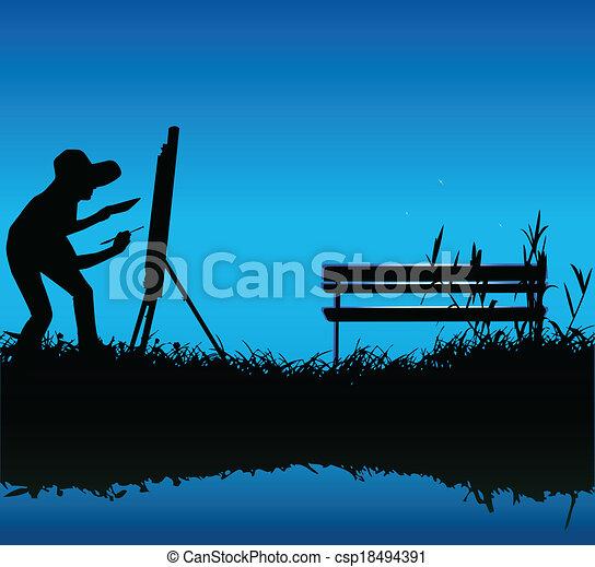 Pintando al aire libre - csp18494391