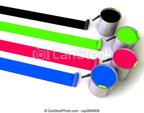 pintura, cubos, rodillos, cepillo - csp3964906