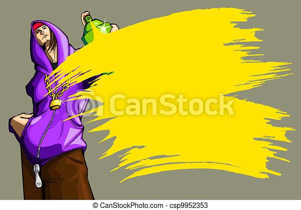 Hombre pintando spray - csp9952353