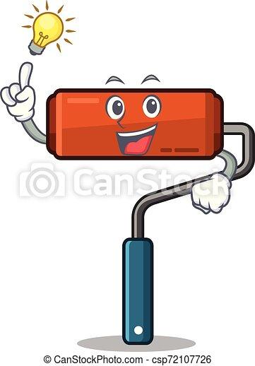 Tengo una idea de rodillo de pintura colocado en la caja de herramientas de dibujos animados - csp72107726